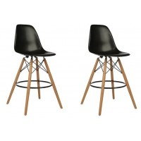 2 X DSW Plastic Bar Stool with Wood Eiffel Legs in Black
