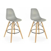 2 X Eames Style DSW Plastic Bar Stool with Wood Eiffel Legs in Dark Gray