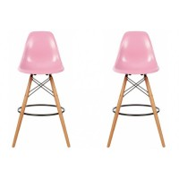 2 X Eames Style DSW Plastic Bar Stool with Wood Eiffel Legs in Pink