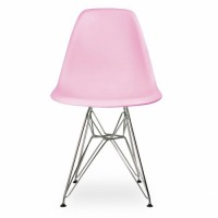 DSR Dining Shell Chair with Steel Eiffel Legs in Pink