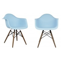 2 X Eames Style DAW Dining Armchair with Dark Walnut Eiffel Legs in Sky Blue