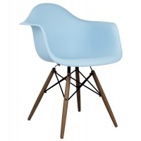 Eames Style DAW Dining Armchair with Dark Walnut Eiffel Legs in Sky Blue