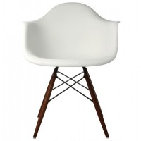 Eames Style DAW Dining Armchair with Dark Walnut Eiffel Legs in White
