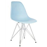 Eames Style DSR Dining Shell Chair with Steel Eiffel Legs in Sky Blue