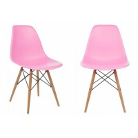 2 X DSW Dining Shell Chair with Wood Eiffel Legs in Pink