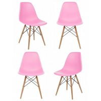 4 X DSW Dining Shell Chair with Wood Eiffel Legs in Pink