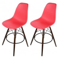 2 X Red Eames Style DSW Bar Stool with Dark Walnut Wood Eiffel Legs
