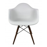 DAW Dining Armchair with Dark Walnut Wood Eiffel Legs in Light Gray