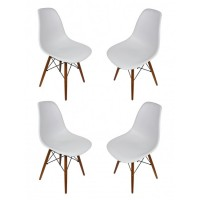 4 X Eames Style DSW Dining Shell Chair with Dark Walnut Eiffel Legs in Light Gray