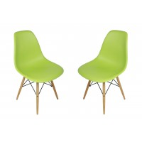 2 X Eames Style DSW Dining Shell Chair with Wood Eiffel Legs in Light Green