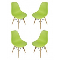 4 X Eames Style DSW Dining Shell Chair with Wood Eiffel Legs in Light Green