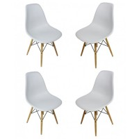 4 X DSW Dining Shell Chair with Wood Eiffel Legs in Light Gray