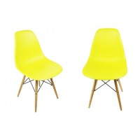 2 X Eames Style DSW Dining Shell Chair with Wood Eiffel Legs in Citrus Yellow