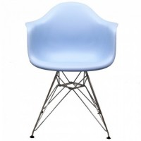 DAR Dining Armchair with Steel Eiffel Legs in Sky Blue
