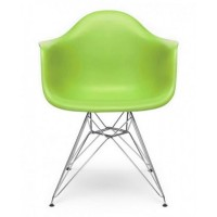 Eames Style DAR Dining Armchair with Steel Eiffel Legs in Green