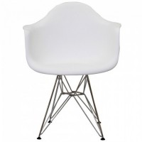 DAR Dining Armchair with Steel Eiffel Legs in White