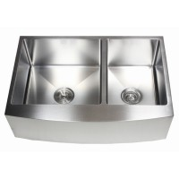 33 Inch Stainless Steel Curved Front Farm Apron Kitchen Sink - 15mm Radius Design 60/40 Double Bowl