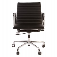 Eames Style Management Designer Top Grain Leather Office Chair In Black