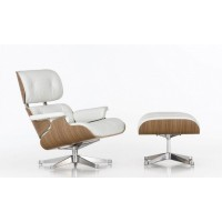 Eames Style Top Grain Leather Lounge Chair In White With Ottoman