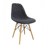 Fabric Upholstered DSW Shell Chair with Wood Eiffel Legs in Black