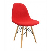 Fabric Upholstered DSW Shell Chair with Wood Eiffel Legs in Red