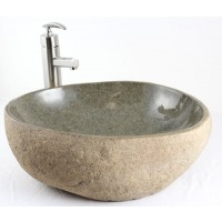Nature - River Stone Countertop Bathroom Lavatory Vessel Sink - 19 x 16 Inch