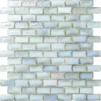 White Irredescent Reflection Rippled Glass Brick Mosaic Tile Mesh Backed Sheet