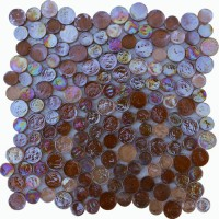 Amber Irredescent Reflection Rippled Glass Mosaic Circle Tile Mesh Backed Sheet