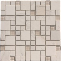 White Marble Mixed with Glossy and Matt Glass Marble Mosaic Tile Mesh Backed Sheet