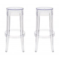 2 X Victoria Ghost Style Clear Color Bar Stool