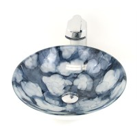 Cloud Mystical Galaxy Glass Countertop Bathroom Lavatory Vessel Sink - 16-1/2 x 5-3/4 Inch-2