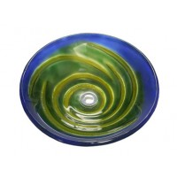 16-1/2 Inch Mystery Twist Design Glass Countertop Bathroom Lavatory Vessel Sink