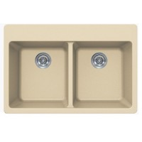 Beige Quartz Composite Double Bowl Undermount / Drop In Kitchen Sink - 33 x 22 x 9 Inch