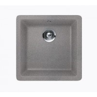 Chrome Quartz Composite Single Bowl Undermount / Drop In Kitchen Sink - 17-11/16 x 16-15/16 x 8 Inch
