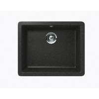 Black Quartz Composite Single Bowl Undermount / Drop In Kitchen Sink - 21-5/8 x 16-15/16 x 8 Inch