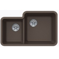 Mocha brown Quartz Composite 40/60 Double Bowl Undermount Kitchen Sink - 33 x 20-13/16 x 7-3/4 | 9-7/16 Inch