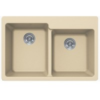 Beige Quartz Composite 60/40 Double Bowl Undermount / Drop In Kitchen Sink - 33-1/16 x 22 x 9-3/4 Inch