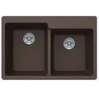 Mocha Brown Quartz Composite 60/40 Double Bowl Undermount / Drop In Kitchen Sink - 33-1/16 x 22 x 9-3/4 Inch