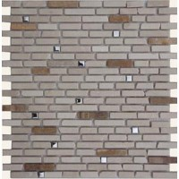Brushed Stainless Steel Square Mixed with Beige Marble Stick Mosaic Tile Mesh Backed Sheet