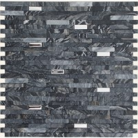 Brushed Stainless Steel Mixed with Black Marble Stick Mosaic Tile Mesh Backed Sheet