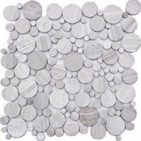 Gray Flat Pebble Marble Mosaic Circle Tile Mesh Backed Sheet