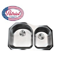 31 Inch Patriot Premium 18 Gauge Stainless Steel Undermount 70/30 Double D-Bowl Kitchen Sink
