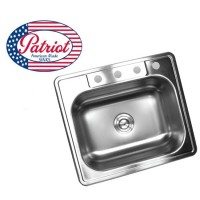 25 Inch Patriot Premium 18 Gauge Top-Mount / Drop-In Stainless Steel Kitchen Island / Bar Sink
