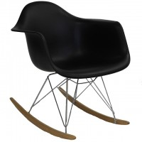 Eames Style RAR Plastic Rocking Chair with Steel Eiffel Legs in Black