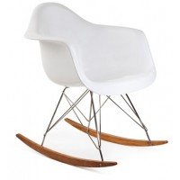 Eames Style RAR Plastic Rocking Chair with Steel Eiffel Legs in White