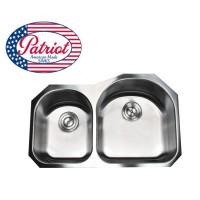 31 Inch Patriot Premium 18 Gauge Stainless Steel Undermount 30/70 Double D-Bowl Kitchen Sink