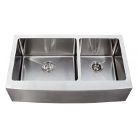36 Inch Stainless Steel Curved Front Farm Apron Kitchen Sink - 15mm Radius Design 60/40 Double Bowl