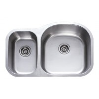 31 Inch Stainless Steel Undermount 30/70 Double Bowl Kitchen Sink - 18 Gauge
