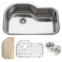 32 Inch Stainless Steel Undermount Offset Single Bowl Kitchen Sink with Accessories