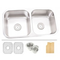 32 Inch Stainless Steel Undermount 50/50 Double Bowl Kitchen Sink - 16 Gauge FREE ACCESSORIES